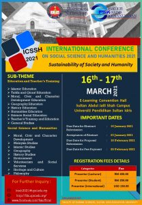 INTERNATIONAL CONFERENCE ON SOCIAL SCIENCE AND HUMANITIES 2021 @ E-LEARNING CONVENTION HALL