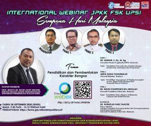 WEBINAR ANTARABANGSA, JPKK, FSK, UPSI - SEMPENA HARI MALAYSIA